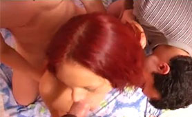 Redhead Got Screwed by Three Horny Dudes in the Front of Amateur Camera