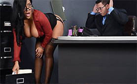 Perverted Secretary Screws with her Lusty Boss in the Office