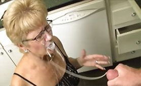 Mature Slut Rewarded for Gentle Handjob with Massive Cum Spraying