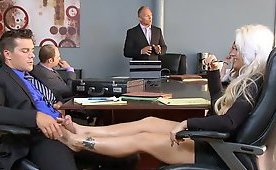 Wanking Off His Dick In The Middle Of Meeting With A Help Of Her Feet